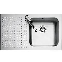 Barazza 1is9060/1s Lavello incasso inox cm. 86 x 50 - 1 vasca dx bordo ribassato gocciolatoio sx Select