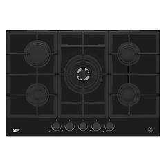 Beko Hilw 75325 Sdx Piano cottura a gas 75 cm - cristallo nero con manopole dark inox Blacken