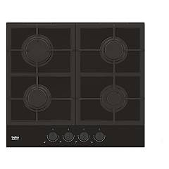 Beko Hilg 64325 Sdx Piano cottura a gas 60 cm - cristallo nero con manopole dark inox Blacken