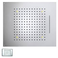 Bossini H38906.030 Soffione doccia a 2 getti con cromoterapia cm. 57x47 - cromo Dream Rectangular Light Rgb