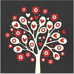 Lignis Love Tree Of Hearts Colors Quadro cm. 75 x 75 Dolcevita